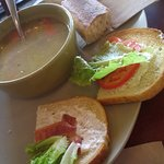 This is a ...ehem...half BLT with chicken noodle soup. Soup is broth with a few carrots.