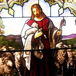 The Good Shepherd - a stained glass window at the Mission Inn