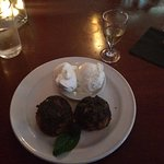 Sweetgrass and cherry cakes with vanilla ice cream and a shot of maple whiskey
