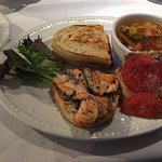 Grilled salmon sandwich - opened to show salmon pieces - yum!
