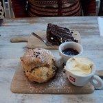 Chocolate cake and scone