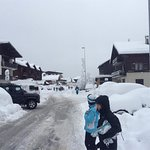 Great weather in Les gets. Just down the local street between the chalet and the ski hire shop.