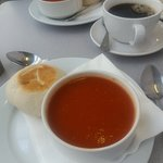 Soup and mini stottie from cafe