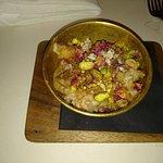 riso e latte di mandorle, pistacchi, calvados