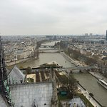 The Seine river from the top of the Notre Dame cathedral.