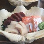 Maguro tuna, swordfish and salmon sashimi