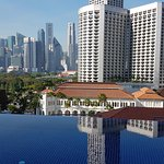 Fabulous view from rooftop infinity pool.  Hotel is only just around the corner from Raffles Hot