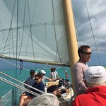 Sean sharing as we sail out to Sand Key.
