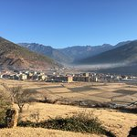 View of Paro town from outside the hotel