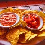 home made tacos y gallo pinto and sauce rosada