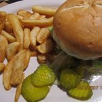 Tom's thick, juicy hamburger & fries