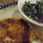 Crab cake appetizer comes w/small kale salad