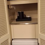 Love it!  Microwave and fridge, hidden when not in use.