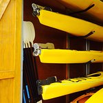 Kayaks in storage.