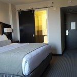 Hotel room with sliding door into bathroom