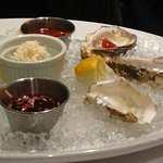 Oysters on the half shell with three sauces(almost gone!)