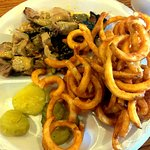 Pork Plate and Curly Fries