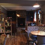 The cosy bar area complete with log burner