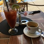 bloody mary and dutch coffee on the beach