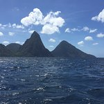 View of the Pitons from the Caribbean Sea