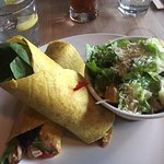 Satay Chicken Roll on Currie wrap with Caesar Salad, Atlas Cafe, 250 6th St, Courtenay, British