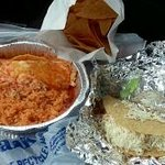 Speedy Gonzales...with rice...made with chicken and a chicken taco and chips