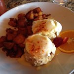 Crab cakes Benedict with fried potatoes. Very good and very filling.