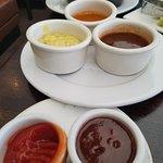 Steak sauce sampler...Bernaise/Au povire-peppercorns/house steak/ketchup & BBQ sauce!