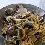 Clams and linguine to die for. Super tender clams in unbelievable sauce.