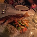 Whole red snapper with veggies