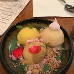 Trio of sorbet, kalamansi, peach jasmine and burnt honey