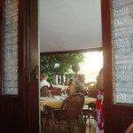 Restaurant terrace through a door