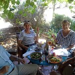 Lunch with friends on the verandah at Red Poles. Usually eat in the garden but too hot today