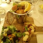 My meal, of Bruschetta, Mixed Salad, and Bucket of Whitby Scampi.