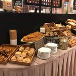 breads and rolls on the buffet
