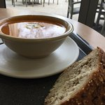 sweet potato soup and bread