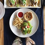 the tacos. and the pie with salad and fries on the side.