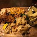 3 seafood special, fish and chips, smoked cod and calamari