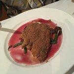 Shrimp and grits, drumfish, chocolate cake and creme brûlée trio