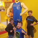 my kids posing in front of dirk nowitzki Lego figure!