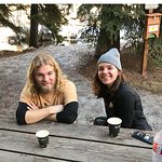 Tanner and Lauren enjoy al fresco coffee