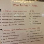 Amarone flight options/menu