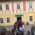 Long que but fast moving- entrance to Funicular