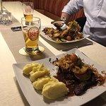 Kalbsleber, Steak und Freiberger Bier ...
