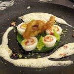 Diner : Encornets et chorizo, brocolis et choux romesco