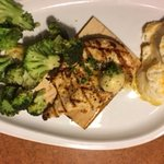 Bourbon Chicken with Broccoli and Mashed Potatoes