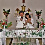 Lighting our unity candle on the altar 30 years ago on 11th March 1987.