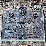 Marker summarizing Alexander Hamilton's history