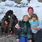 Warming up by the fires at Squaw creek.  Stop at Starbucks and relax by the fire after skiing