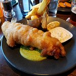 Haddock and Chips, anyone? You'll get a great portion at the Absolute Bar and Grill in the hotel